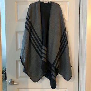 Black & Grey Poncho Wrap